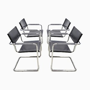 Bauhaus Leather Model MG5 Cantilever Chairs by Centro Studi for Matteo Grassi, Set of 4