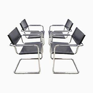 Chaises Cantilever Modèle MG5 Bauhaus en Cuir par Centro Studi pour Matteo Grassi, Set de 4