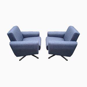 Mid-Century Danish Chrome Swivel Armchairs in Navy Blue Upholstery