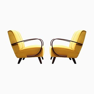 Bentwood Armchair with Yellow Velvet by Jindřich Halabala, 1930