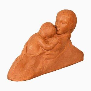 Sculpture Maternité Art Déco en Terracotta par Gennarelli, 20ème Siècle