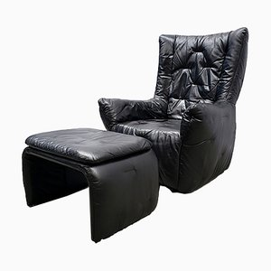 Large High Back Lounge Armchair with Ottoman in Black Leather, 1980