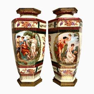 Sèvres Porcelain and Gilt Bronze Vases, 1861, Set of 2