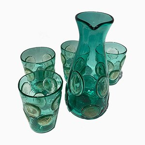 Vintage Italian Drinking Glasses in Emerald Murano Glass from Ribes Studio, Set of 5