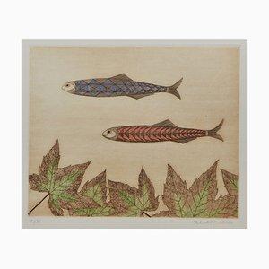 Keiko Minami, Radierung mit Aquatinta, Fische, 1977