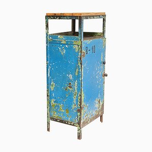 Industrial Steel and Wood Cabinet in Blue and Green