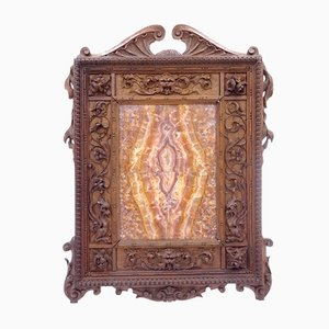 Carved Walnut Frame with Marble Composition, Late 1800s