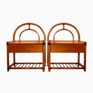 Bamboo Bedside Tables, 1970s, Set of 2