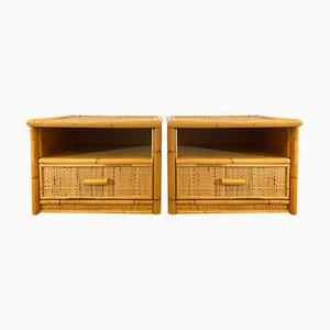 Bedside Tables in Wicker and Bamboo, 1970s, Set of 2