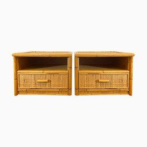 Comodini in vimini e bambù, anni '70, set di 2