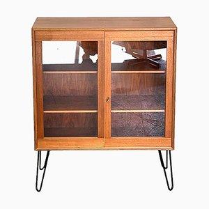 Mid-Century Teak Display Cabinet with Glass Doors, Denmark, 1960s