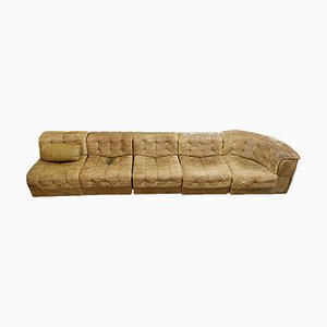 Swiss Modular Leather DS 11 Sofa from De Sede, 1970s, Set of 5