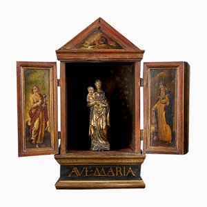 Flemish School Terracotta & Wood Madonna and Child in Wooden Shrine with Decorated Doors, 18th Century