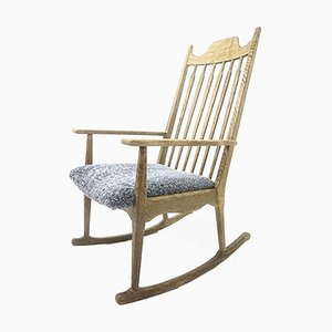 Mid-Century Solid Oak Rocking Chair with Lamb Wool Upholstery by Henning Kjærnulf