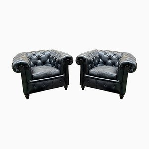 Chesterfield Armchairs in the Style of Poltrona Frau, Set of 2