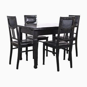 Art Nouveau Dining Table and Chairs in Black, Set of 5, 1920s