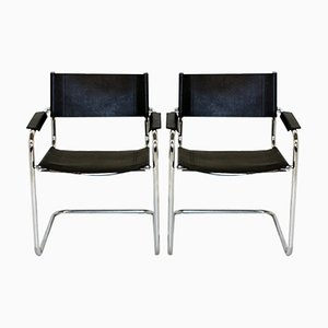Chairs in Leather, 1990s, Set of 2
