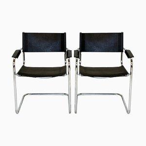 Chaises en Cuir, 1990s, Set de 2