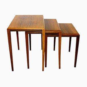 Rosewood Nesting Tables, Denmark, 1960s, Set of 3