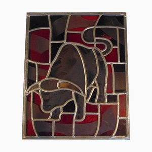 Vintage Stained Glass Bull Painting, 1950s