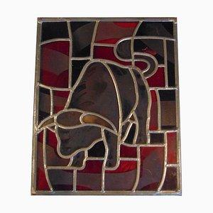 Vintage Stiermalerei aus Buntglas, 1950er