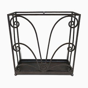 French Art Deco Umbrella Stand in Wrought Iron in the Style of Edgar Brandt