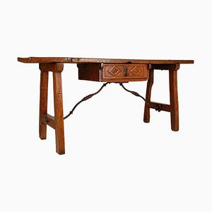 Large Spanish Renaissance Console Table or Sofa Table with Wrought Iron Stretcher, 17th Century