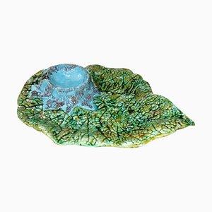 Vintage Ceramic Cabbage Leaf Plate or Platter, 1970s