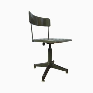 Industrial Military Green Swivel Desk Chair, 1930s