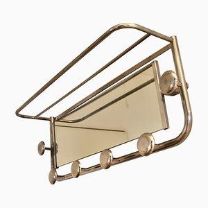 French Art Deco Aluminum Coat Rack with Mirror, 1940s