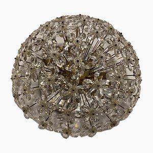 Vintage Italian Crystal Flower Flush Mount