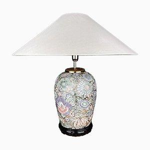 Grande Lampe de Bureau Fleur Vintage en Céramique, Italie, 1970s