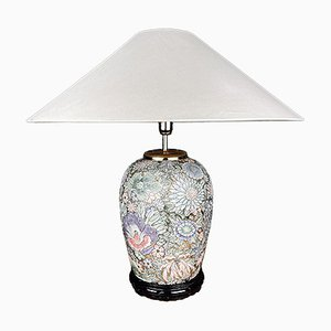 Large Vintage Ceramic Flower Table Lamp, Italy, 1970s