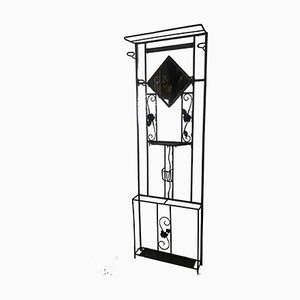 Art Deco Coat Rack in Black Wrought Iron