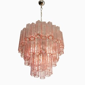 Large Pink Murano Chandelier in the Style of Venini
