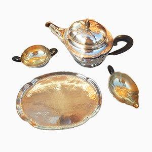 Servizio da tè in argento 800 con vassoio, set di 4