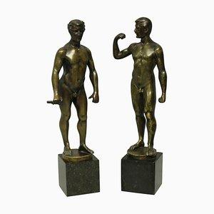 Sculture di nudo maschile in bronzo di Spiro Schwatenberg, set di 2