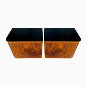 Tables de Chevet Vintage en Noyer avec Miroir, Set de 3