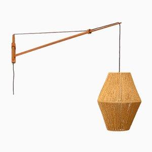 Große Eichenholz Wandlampe von A. Bank Jensen & Kjeld Iversen für Louis Poulsen, 1950er