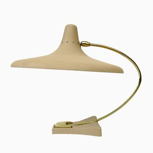 Witch's Hat Table Lamp in Brass with Dark Beige Shrink Varnish, Germany, 1950s