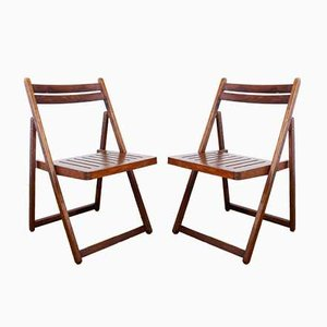 Folding Chairs in Plywood, 1970s or 1980s, Set of 2
