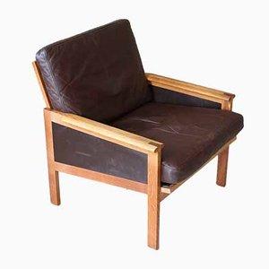 Vintage Leather & Oak Easy Chair by Illum Wikkelsø for Niels Eilersen, 1960s