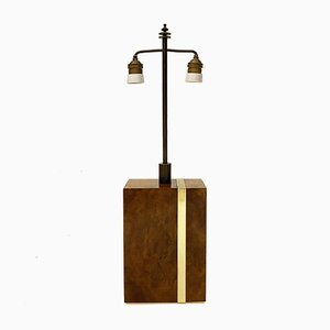 Italian Modernist Lamp in Thuya Burl Wood and Brass by Willy Rizzo, 1970s