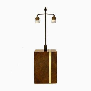 Lampe Moderniste en Bois de Thuya et Laiton par Willy Rizzo, Italie, 1970s