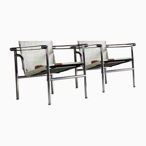 LC1 Sessel von Le Corbusier, Charlotte Perriand und Pierre Jeanneret, 1990er, 2er Set