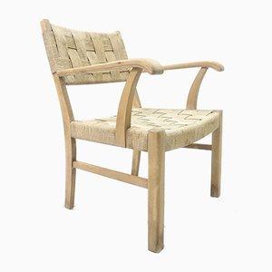 Easy Chair in Beech Wood with Sea Grass Webbing by Karl Schrøder for Fritz Hansen, 1940s