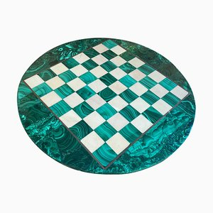 Chess Board in Solid Malachite and Marble, Italy, 1960s