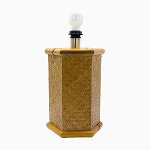 Sechseckige Tischlampe aus Bambus, Italien, 1970er