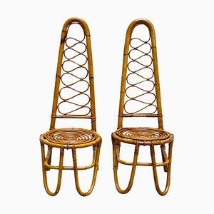 Französische Riviera Stühle aus Rattan & Bambus, 1960er, 2er Set