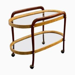 Wood and Goatskin Bar Cart by Aldo Tura, Italy, 1960s